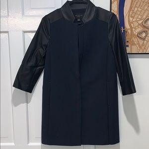 Ann Taylor Petite Faux Leather Detail Coat